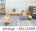 ロボット 倉庫 ドローンのイラスト 36112408