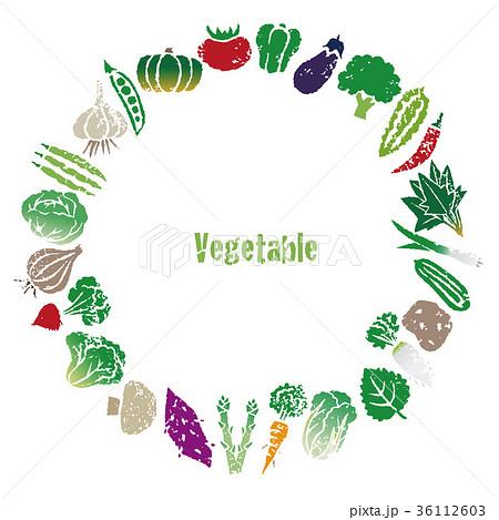 野菜のリース、円形飾りフレーム 36112603