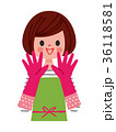 ゴム手袋 女性 笑顔のイラスト 36118581