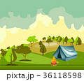 キャンプ 収容所 テントのイラスト 36118598