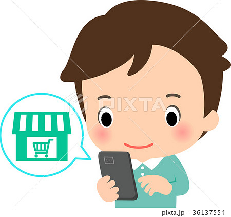 スマートフォンでネットショップを利用する男性 36137554