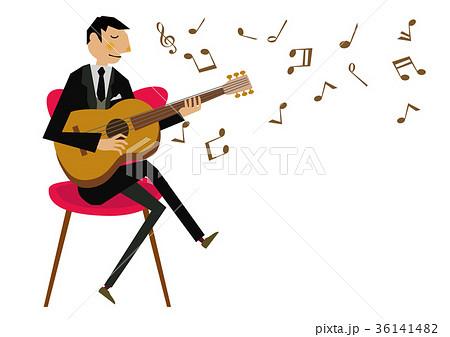 音楽のクリップアートギター演奏アコースティックギターのイラスト