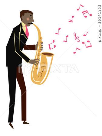 音楽のクリップアート。サックス。サキソフォン。演奏。 36141553