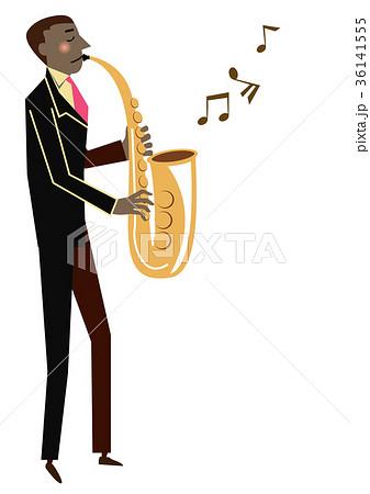 音楽のクリップアート。サックス。サキソフォン。演奏。 36141555