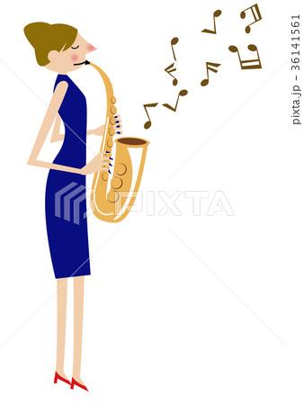 音楽のクリップアート。サックス。サキソフォン。演奏。 36141561