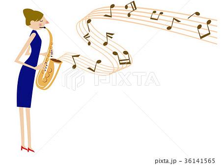 音楽のクリップアートサックスサキソフォン演奏のイラスト素材