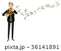 音楽のクリップアート。男性。ホルン演奏者 36141891