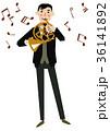音楽のクリップアート。男性。ホルン演奏者 36141892