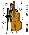 ベースを弾く男性演奏者。音楽のクリップアート 36141942