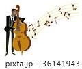 ベースを弾く男性演奏者。音楽のクリップアート 36141943