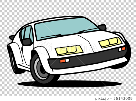 フレンチヒストリックスポーツカー 白色 ジャンプ  自動車イラスト  36143009