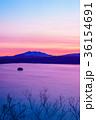 摩周湖 湖 朝焼けの写真 36154691