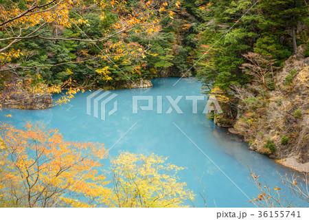 渓谷の風景。晩秋のダム湖。 36155741