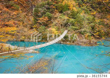 渓谷の風景、ダム湖にかかる橋、寸又峡。 36155744