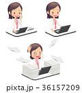 会社員 デスクワーク 女性のイラスト 36157209