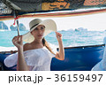 Attractive Young Caucasian Woman Sit On Boat Wear 36159497