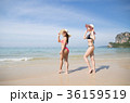 Girl Couple On Beach Summer Vacation, Young Woman 36159519