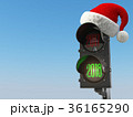 Happy new year 2018. Santa hat on  traffic light 36165290