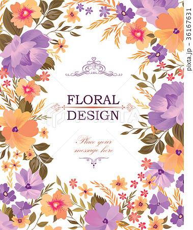 Floral frame cover pattern. Flower card background 36167631