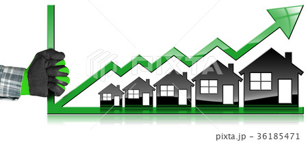 Growing Real Estate Sales - Graph with Houses 36185471