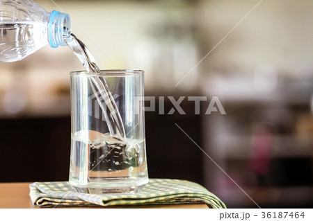 Glass of the purified water on the table barの写真素材 [36187464] - PIXTA