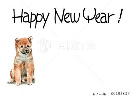 犬の賀詞入り年賀ハガキ素材柴犬ヨコ型 36192337