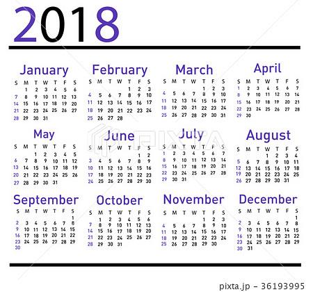 Calendar for 2018 vector illustration 36193995