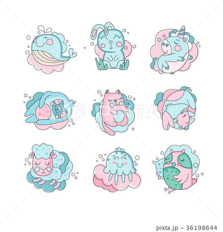 Cute cartoon baby animals sleeping set sweet cute cartoon baby animals sleeping set sweet voltagebd Image collections