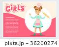少女 子供 お菓子づくりのイラスト 36200274