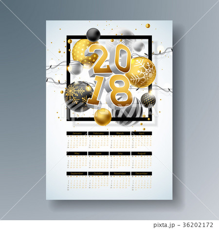 Vector Calendar 2018 Template Illustration with 36202172