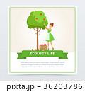 女性 メス りんごの木のイラスト 36203786