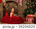クリスマス ドレス 暖炉の写真 36204020