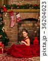 クリスマス ドレス 暖炉の写真 36204023