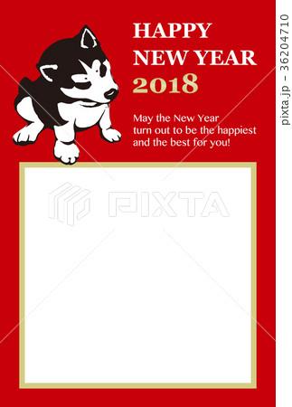 2018年賀状テンプレート_子犬のフォトフレーム01_HNY_英語添え書き付き