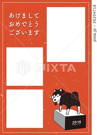 2018年賀状テンプレート_柴犬フォトフレーム_あけおめ_添え書きスペース空き