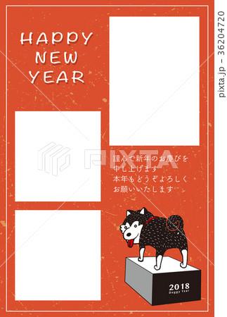 2018年賀状テンプレート_柴犬フォトフレーム_HNY_日本語添え書き付き