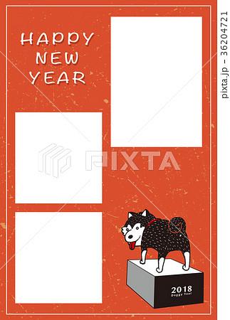 2018年賀状テンプレート_柴犬フォトフレーム_HNY_添え書きスペース空き