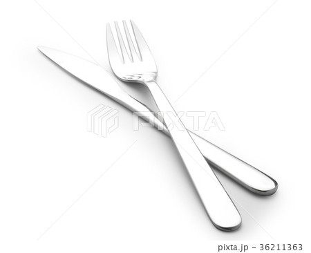 knife and fork isolated on whiteの写真素材 [36211363] - PIXTA