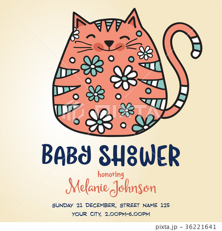 baby shower card template with fat doodle catのイラスト素材