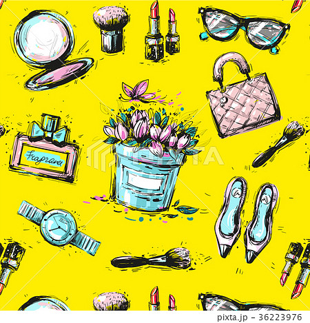 Sketch female fashion accesorize seamless pattern 36223976
