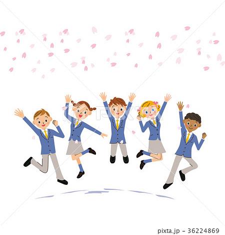 桜の下で飛び跳ねる学生 36224869