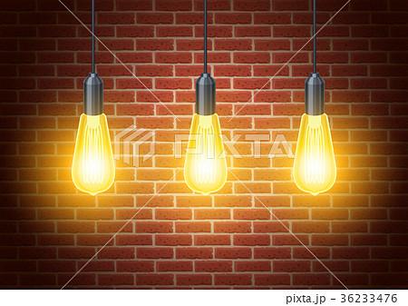 classic light bulbs on rustic brick wallのイラスト素材 36233476