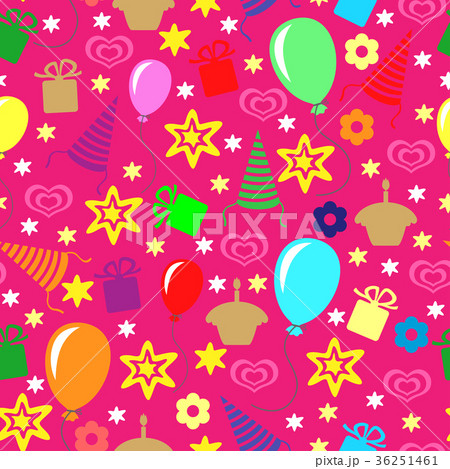 happy birthday greeting pattern seamlessのイラスト素材 36251461
