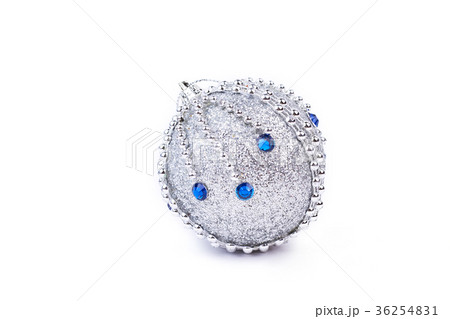 Silver glitter Christmas ball with blue stones.の写真素材 [36254831] - PIXTA