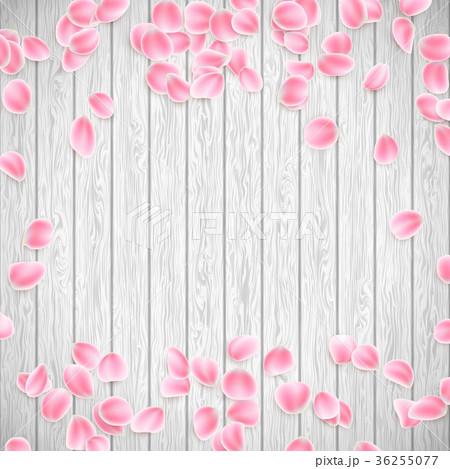 Realistic Sakura petals on a white wooden 36255077