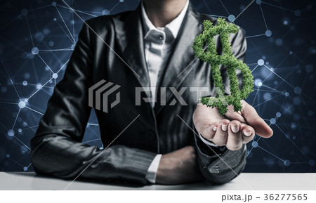 Businessman presenting dollar symbol. 36277565