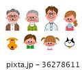 家族 三世代家族 ペットのイラスト 36278611