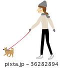 女性 冬 散歩のイラスト 36282894