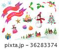 クリスマス クリスマスツリー 雪だるまのイラスト 36283374