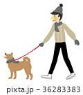 冬 散歩 犬の散歩のイラスト 36283383